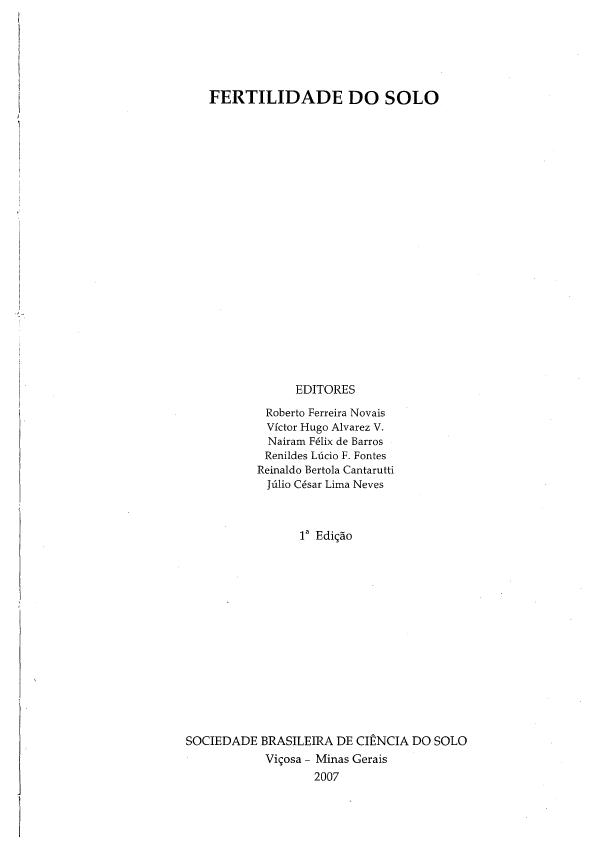 fertilidade do solo novais pdf