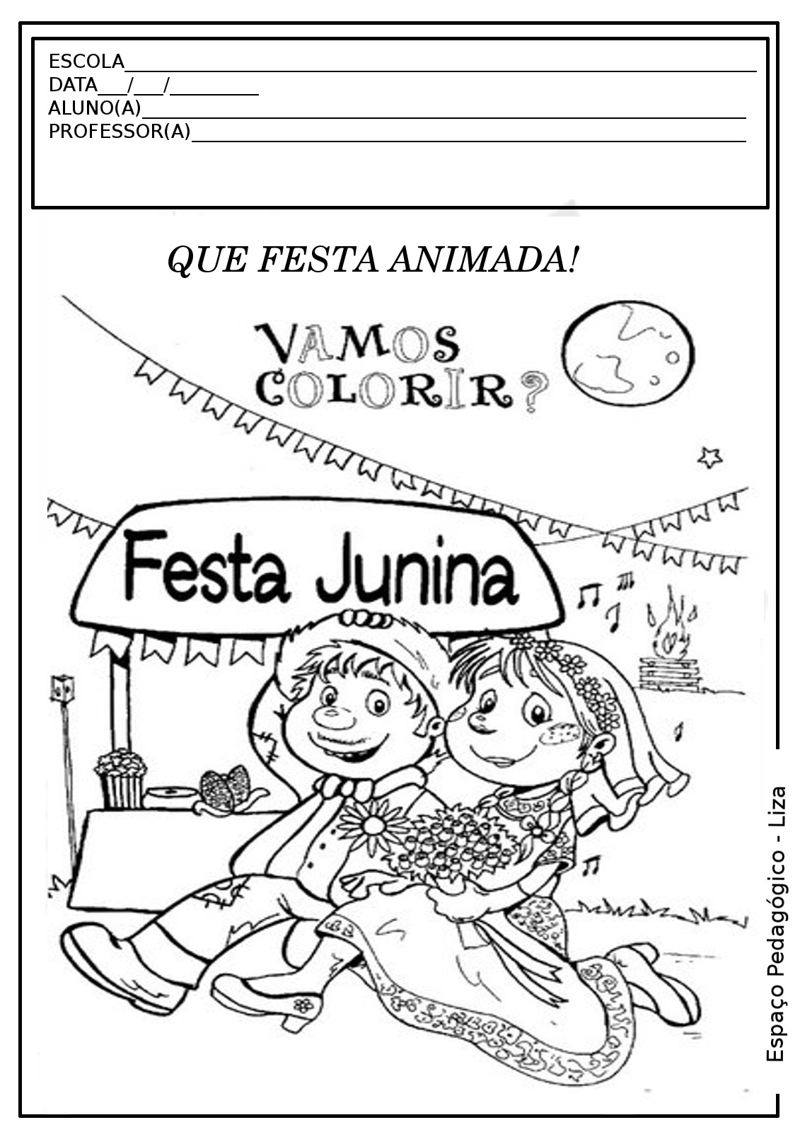 Festa Junina Atividade Colorir Pintar Imprimir Pedagogia