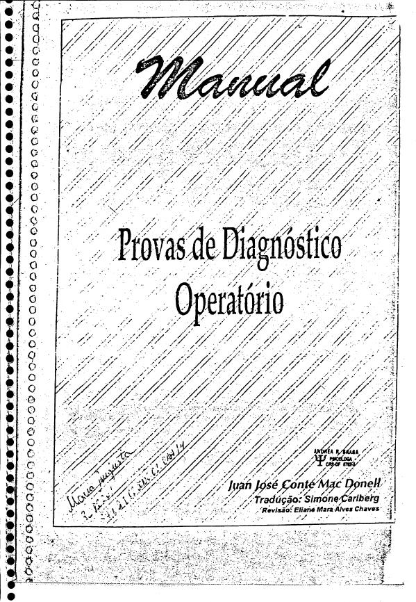 b908fb2eb68 Manual Prova de Piaget Diagnóstico Operatório - Psicologia Co