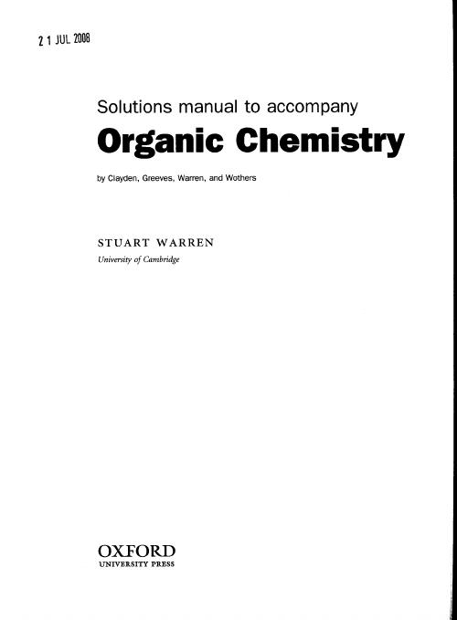 clayden organic chemistry solutions pdf