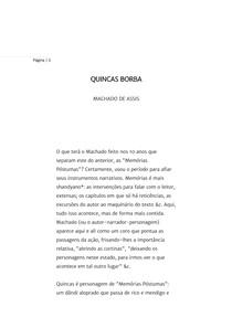 Quincas Borba, de Machado de Assis (fichamento e crítica)
