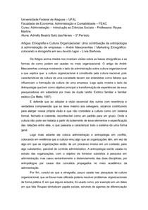 Etnografia e Cultura Organizacional: Uma contribuição da antropologia á administração de empresas – André Mascarenhas