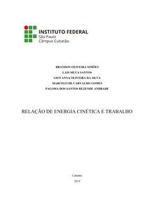 relatorio(fisica) - relação de energia cinetica e trabalho
