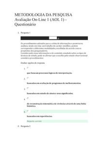 METODOLOGIA DA PESQUISA - AOL1