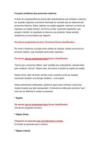 Morfologia - Funções sintáticas dos pronomes relativos