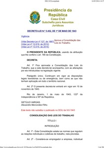 CLT Decreto-lei 5452 em PDF para anotações