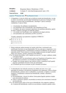 avaliação 2 Bioquímica Básica e Metabolismo
