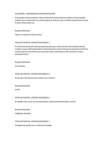 AVALIAÇÃO METODOLOGIA DO ENSINO DA ARTE