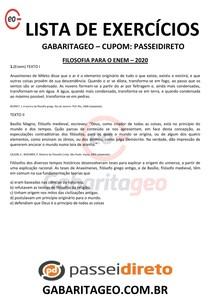 FILOSOFIA PARA O ENEM 01 - EXCLUSIVO - 2020