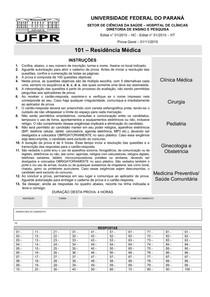 Prova Residência Médica - Acesso Direto - UFPR 2015