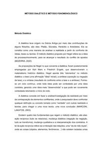Método dialético e fenomenológico