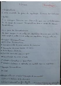 Termologia/ Termodinâmica/ Calorimetria/ Dilatação Térmica.