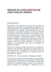 SÍNTESE DO LIVRO DIDÁTICA DE JOSÉ CARLOS LIBÂNEO