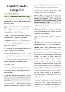 Classificação das Obrigações - Civil II