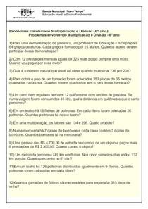 Problemas 6º Ano Matematica