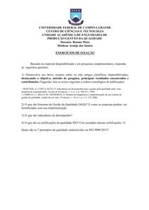 Exercício de Fixação - Sistema de Gestão da Qualidade : ISSO 9000:2015