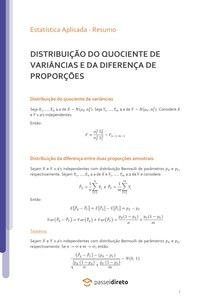 Distribuição do quociente de variâncias de duas populações normais independentes e distribuição da diferença duas proporções amostrais - Resumo