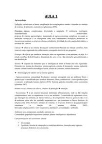 RESUMÃO PARTE 1 - AGROECOLOGIA