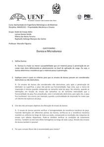 Questionário Propriedades Mecânicas - Dureza e Microdureza
