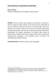 Márcio Goldman - Lévi Strauss e os sentidos da história