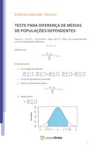 Teste para a diferença de médias populacionais de populações dependentes - Resumo