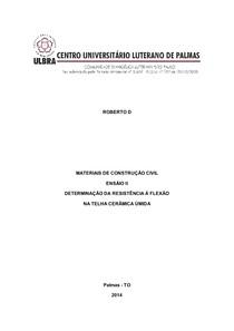 Relatório determinação da resistência à flexão de telhas cerâmicas