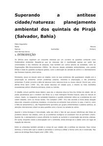 Superando a antítese cidade-natureza - planejamento ambiental dos quintais de Pirajá - Salvador - Bahia