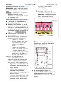 Resumo Completo de Tecido Epitelial