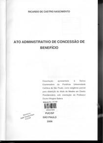 Ricardo de Castro Nascimento - Ato Administrativo de Concessão de Benefício - Ano 2006