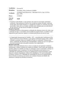 Avaliação III Descritiva - Sociedade e Meio Ambiente - Nota 10,00 - Uniasselvi