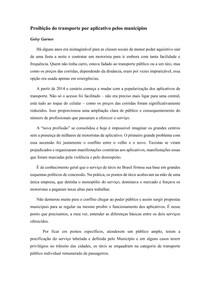 Artigo - Proibição do transporte por aplicativo pelos municípios