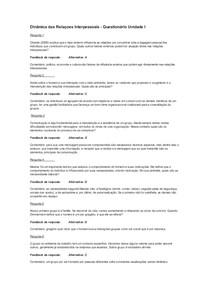 Questionário Unidade I (2017/2)