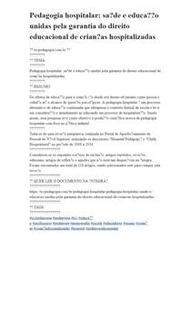 Pedagogia hospitalar: saúde e educação unidas pela garantia do direito educacional de crianças hospitalizadas