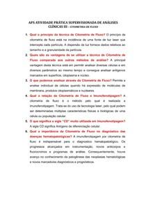 APS ATIVIDADE PRÁTICA SUPERVISIONADA DE ANÁLISES CLÍNICAS III