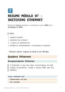 Resumo Módulo 7 - Switching Ethernet - CCNA v7_1 - Introdução às Redes