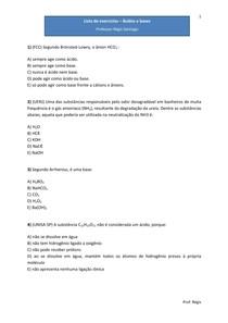 Lista de exercícios - Ácidos e bases, forças de ácidos e bases - Exercícios de vestibular (com gabarito)
