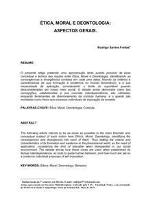 Ética, Moral e Deontologia - Aspectos Gerais
