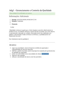 Adg1 - Gerenciamento e Controle da Qualidade 2019