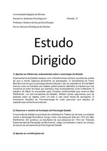 Estudo dirigido - Sistemas Psicológicos II, Prof Delaine (Gestalt)
