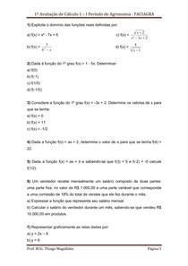 1ª avaliação de Cálculo 1