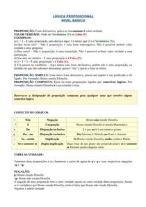LÓGICA PROPOSICIONAL - AULA I - NÍVEL BÁSICO