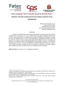 ESTUDO DE CASO DE PINHÃO MANSO COMO FONTE DE ENERGIA RENOVÁVEL BIODIESEL