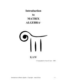 Autar Kaw   Introduction to Matrix Algebra (2008, www.autarkaw.com)