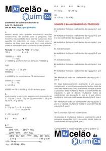 Gabarito da Lista de Exercícios: ESTEQUIOMETRIA: Reações Consecutivas/Sucessivas