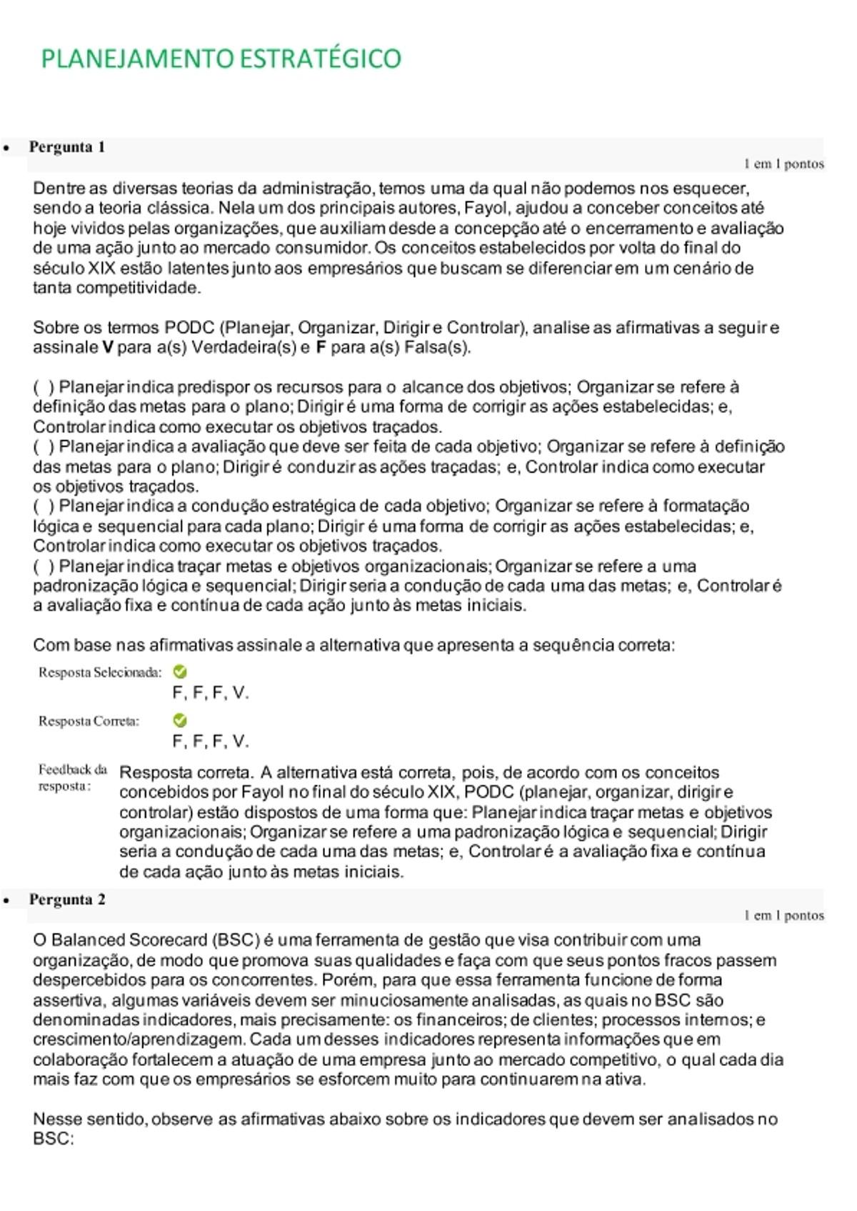 Pre-visualização do material Atividade A2 Planejamento Estratégico UNIFACS - página 1