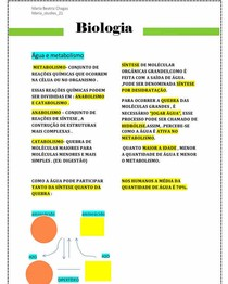 água e metabolismo - Biologia