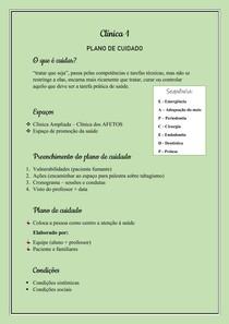 Clínica 1- Plano de cuidado
