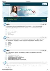 Simulado AV1 Contabilidade e orcamento publico
