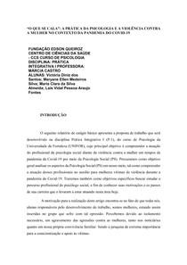 """""""O que se cala"""": A prática da psicologia e a violência contra a mulher no contexto da pandemia do Covid-19"""
