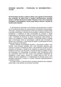 Saccharomyces cerevisae e Zymomonas mobilis na fermentação alcoólica: comparação